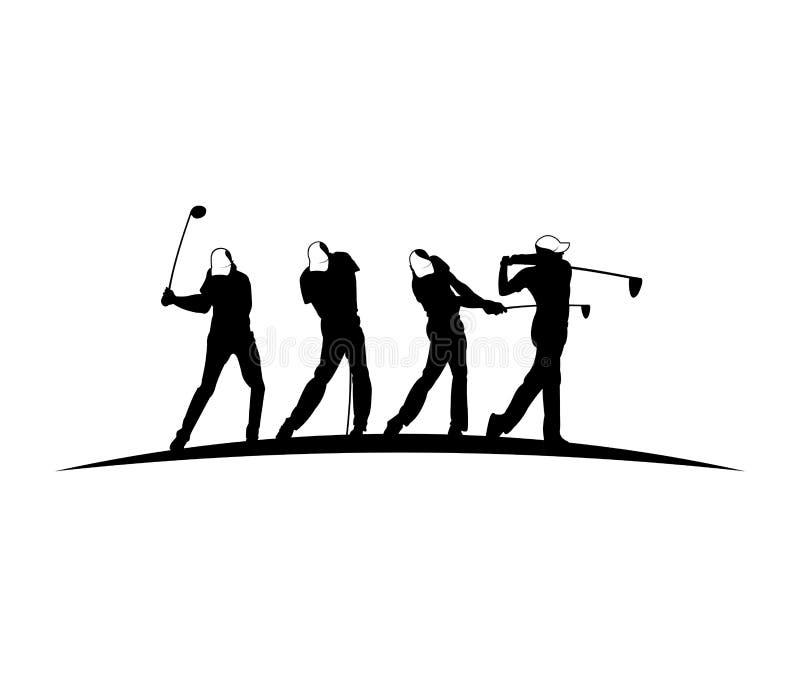 高尔夫球户外运动传染媒介商标设计启发,球员击中球用摇摆棍子 皇族释放例证