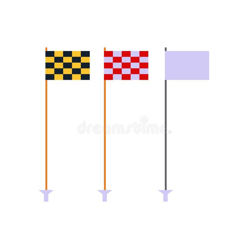 高尔夫球旗子在白色背景,打高尔夫球的平的元素,高尔夫用品设置被隔绝-导航例证 皇族释放例证