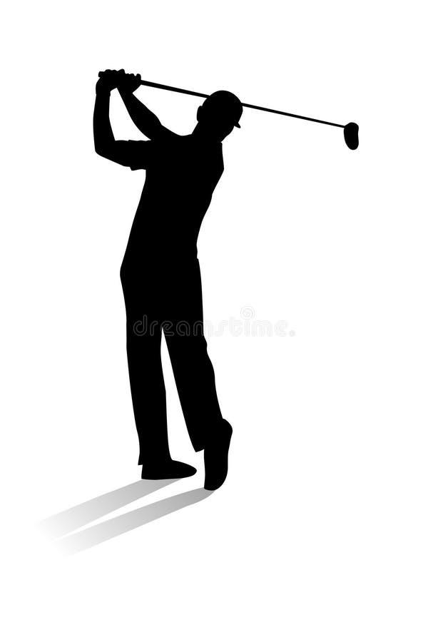 高尔夫球查出的球员射击工作室 高尔夫球运动员剪影传染媒介例证 向量例证