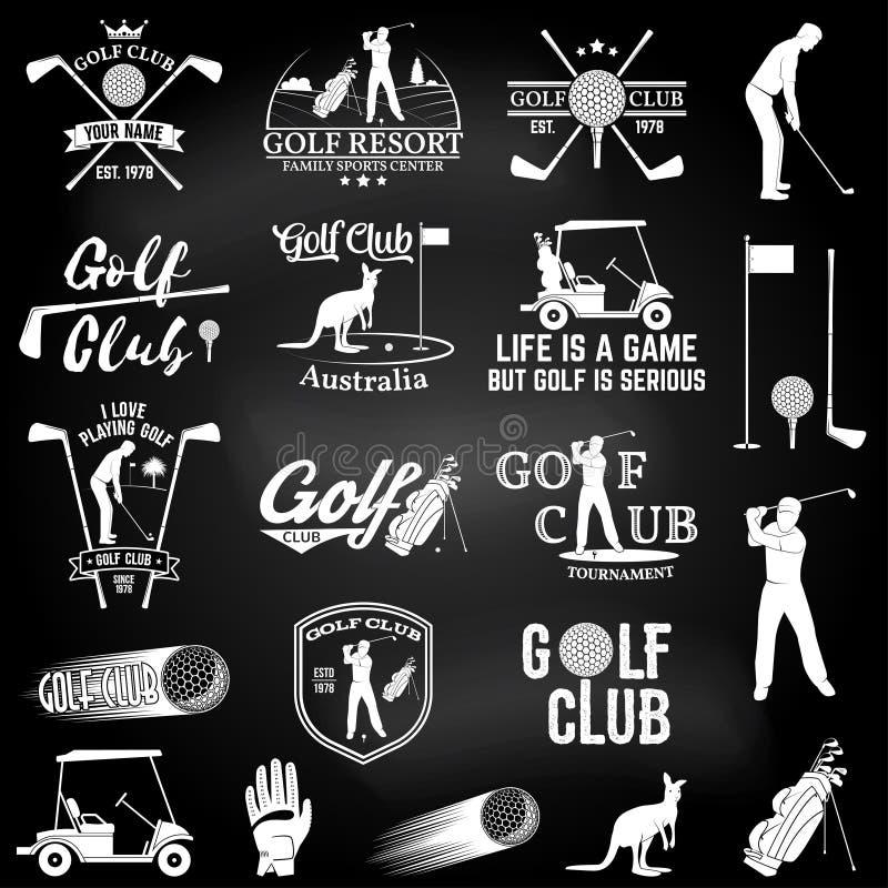 高尔夫球棒与高尔夫球运动员剪影的概念 向量例证