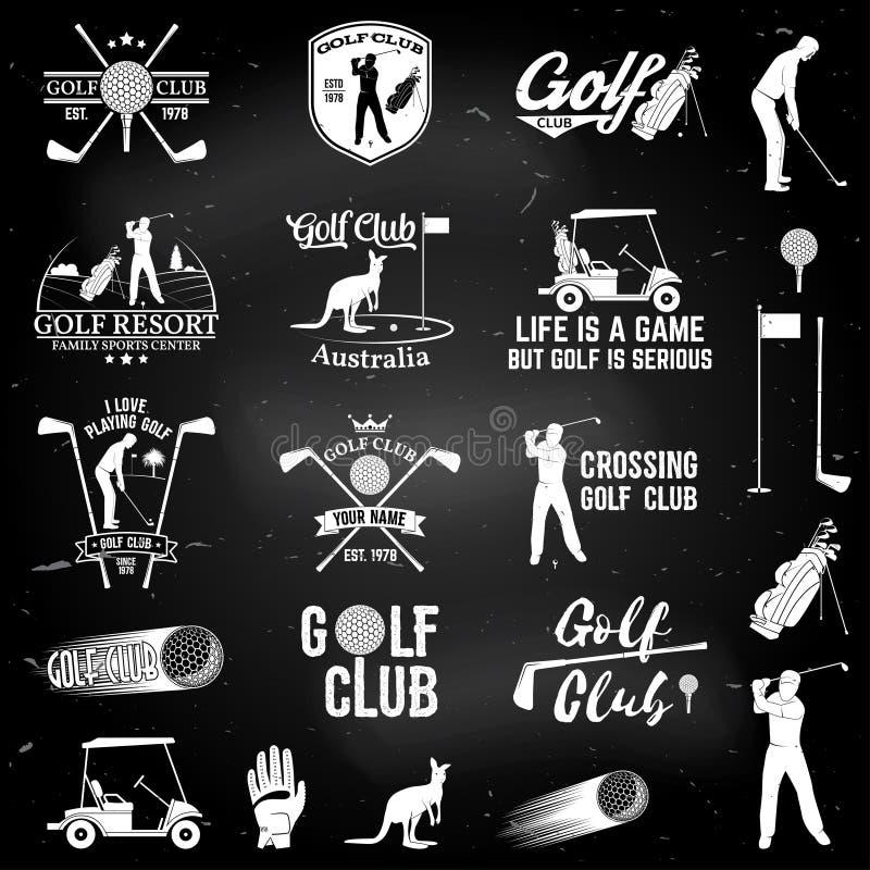 高尔夫球棒与高尔夫球运动员剪影的概念 库存例证