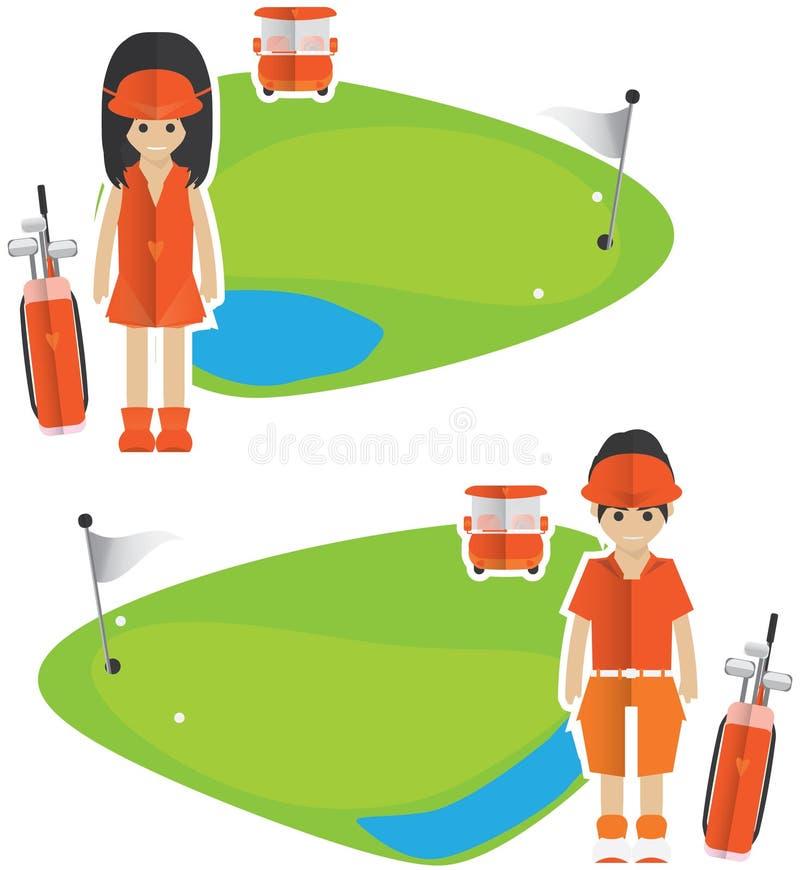 高尔夫球横幅 库存例证