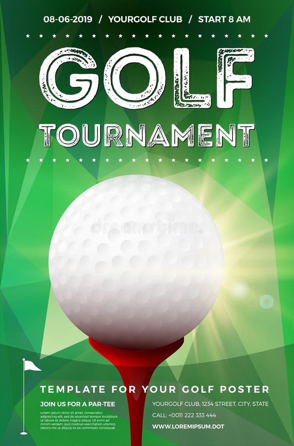 高尔夫球比赛与样品文本的海报模板 向量例证