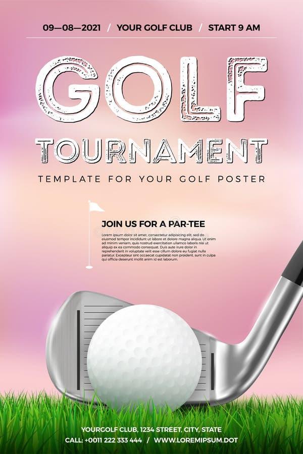 高尔夫球比赛与球、俱乐部和草的海报模板 皇族释放例证