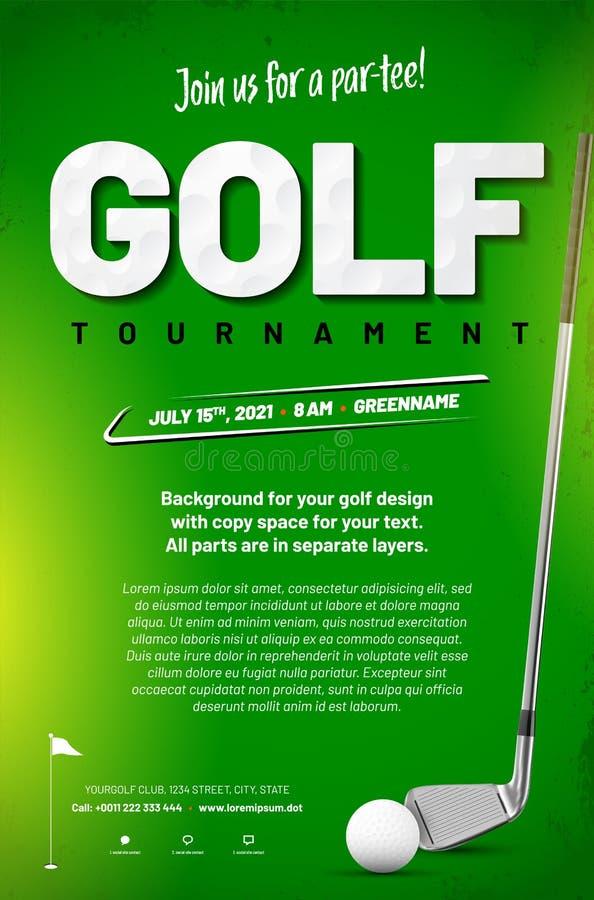 高尔夫球比赛与球和高尔夫俱乐部的海报模板 库存例证
