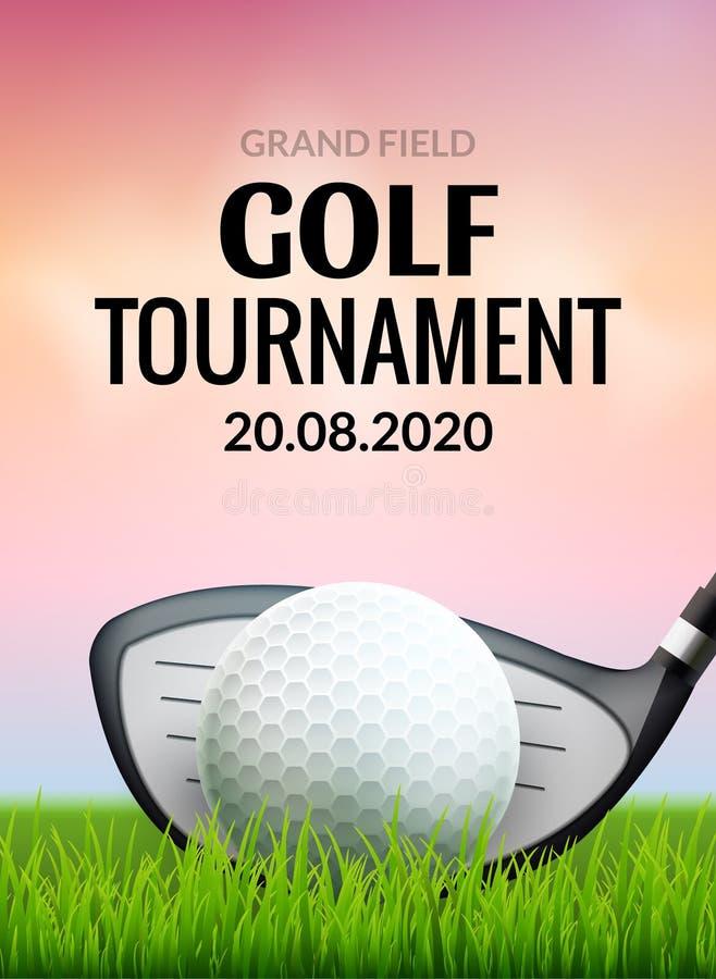 高尔夫球比赛海报模板飞行物 在绿草的高尔夫球竞争的 体育俱乐部传染媒介设计 向量例证