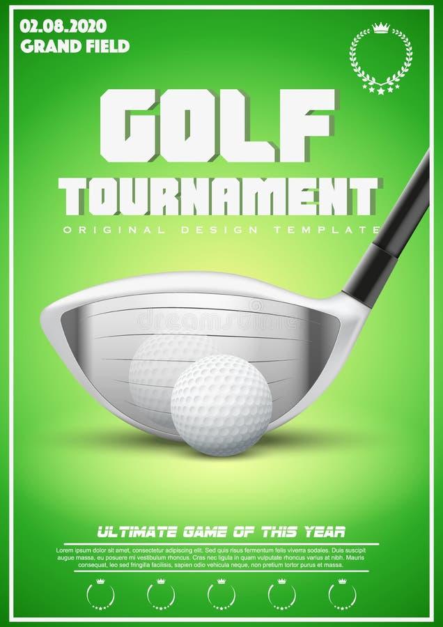 高尔夫球比赛海报模板  向量例证