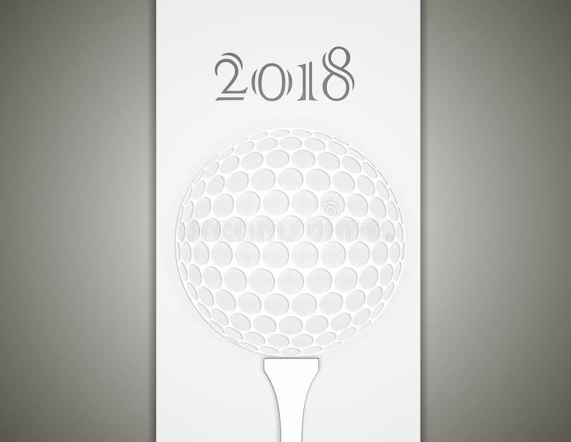 高尔夫球贺卡由纸制成 库存例证