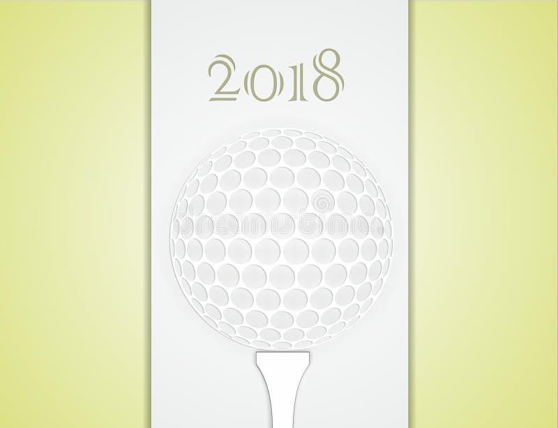 高尔夫球贺卡由纸制成 向量例证
