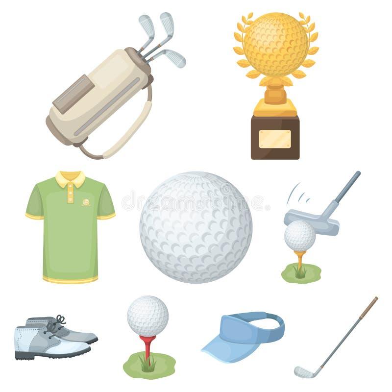 高尔夫球运动员、球、俱乐部和其他高尔夫球属性 在动画片样式的高尔夫俱乐部集合汇集象导航标志股票 库存例证