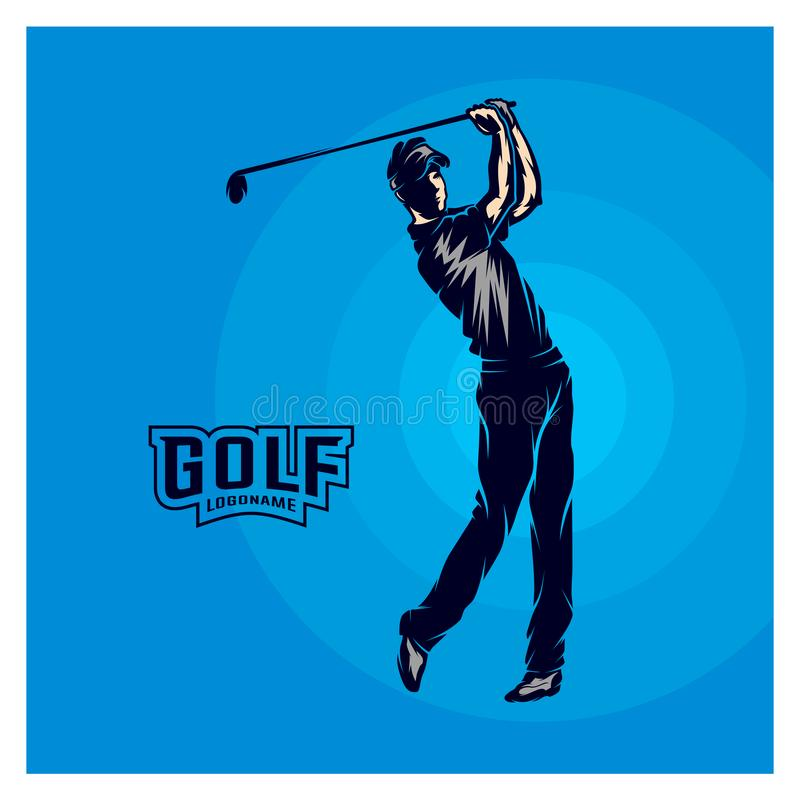 高尔夫球运动员传染媒介 高尔夫球运动员的剪影 也corel凹道例证向量 库存例证