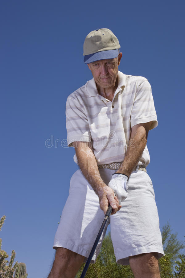 高尔夫球运动员前辈 库存照片