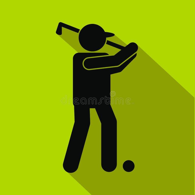 高尔夫球运动员剪影平的象 库存例证