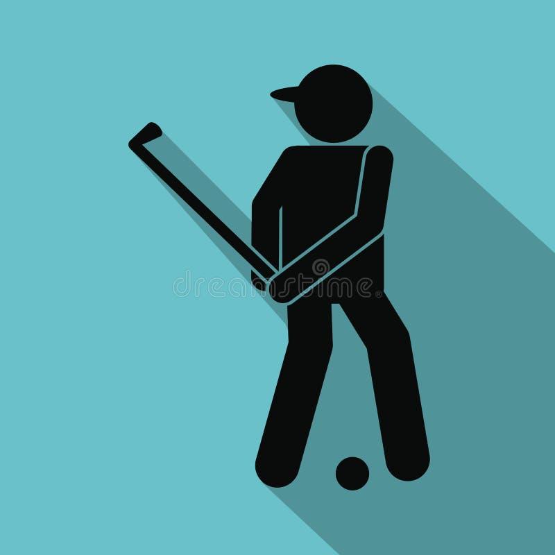 高尔夫球运动员剪影平的象 向量例证