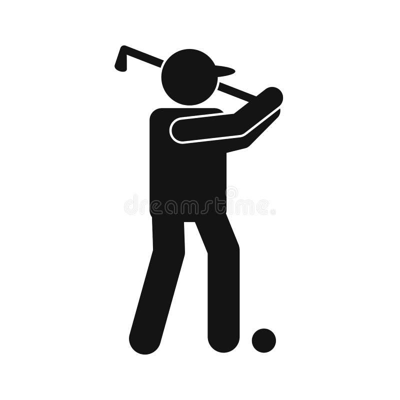 高尔夫球运动员剪影平的象 皇族释放例证