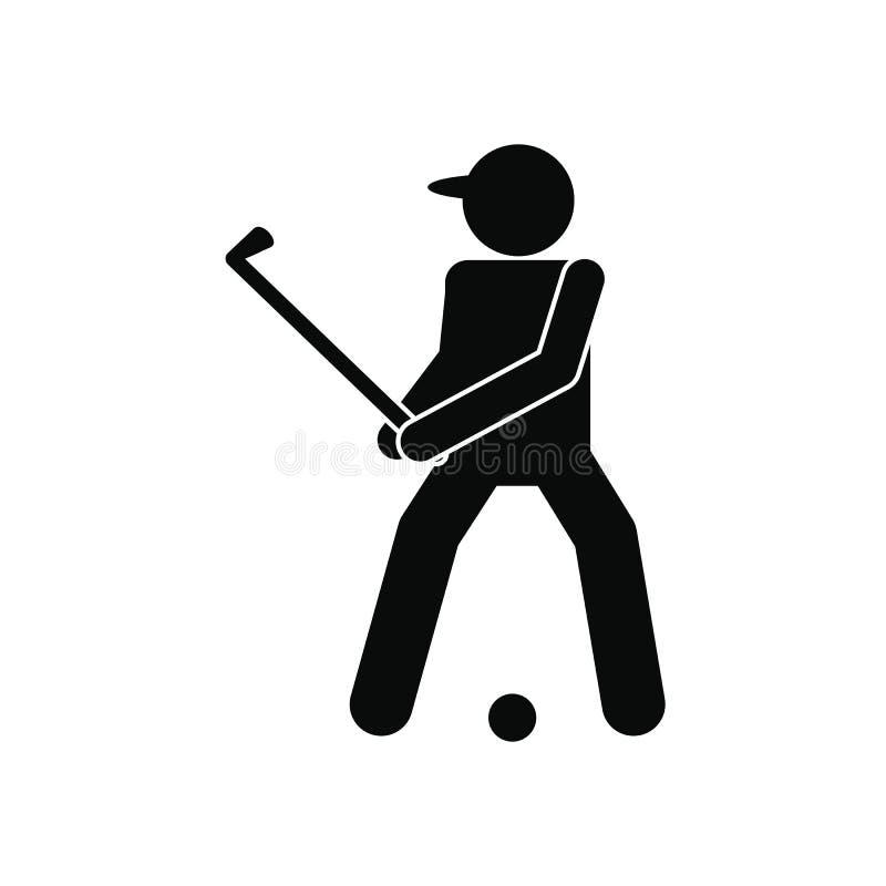 高尔夫球运动员剪影象 向量例证