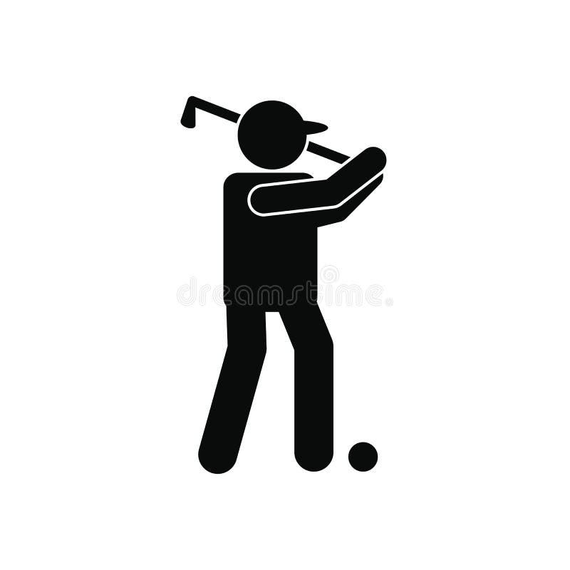 高尔夫球运动员剪影象 库存例证
