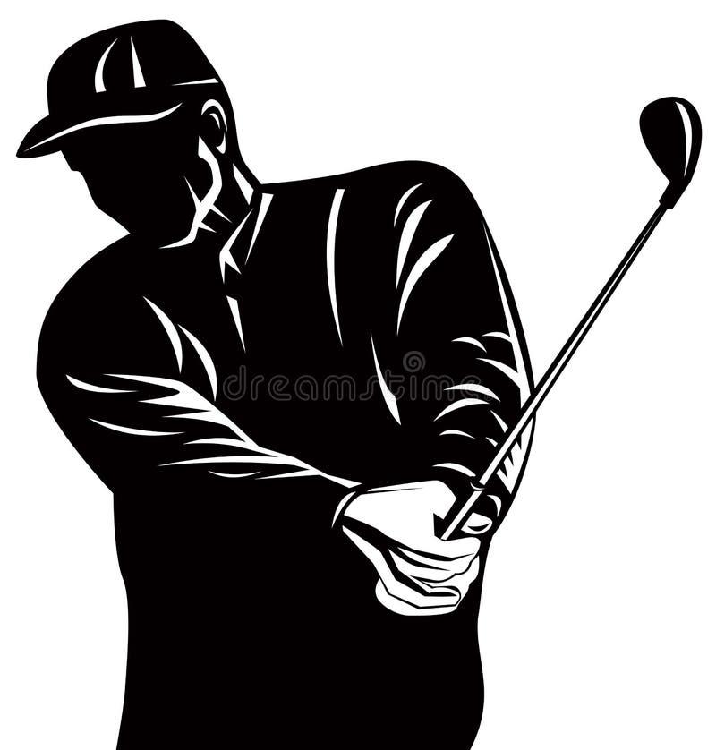 高尔夫球运动员剪影 向量例证