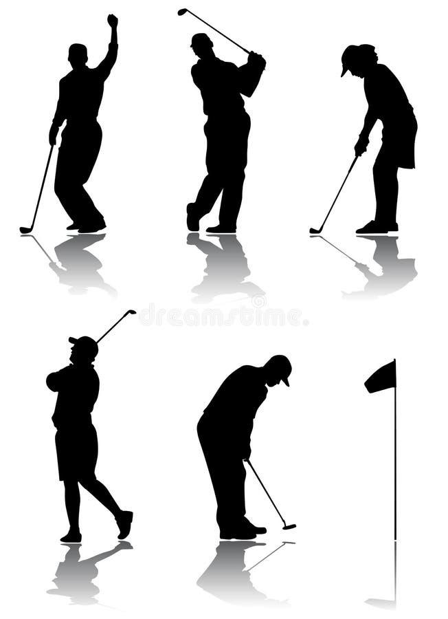 高尔夫球运动员向量 库存例证