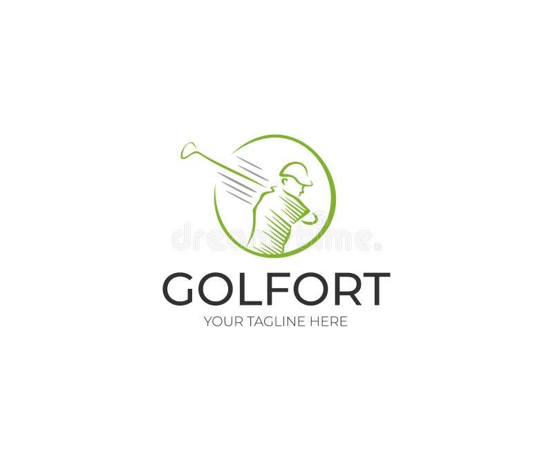 高尔夫球运动员商标模板 高尔夫俱乐部传染媒介设计 向量例证