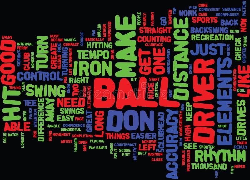 高尔夫球运动员在戏剧词云彩概念击碎您的驱动并且保留它 库存例证