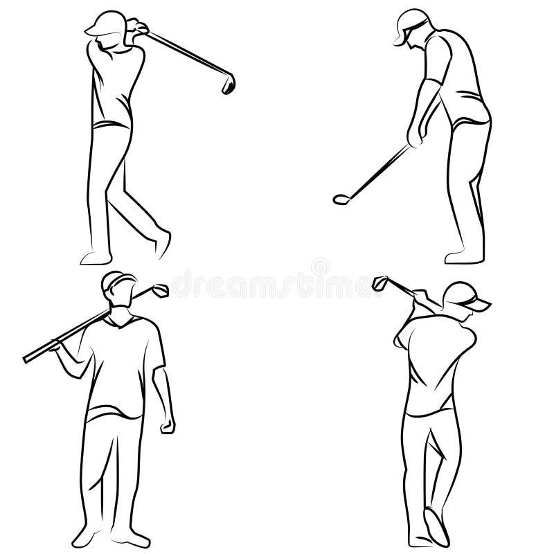 高尔夫球运动员姿势集合 库存照片