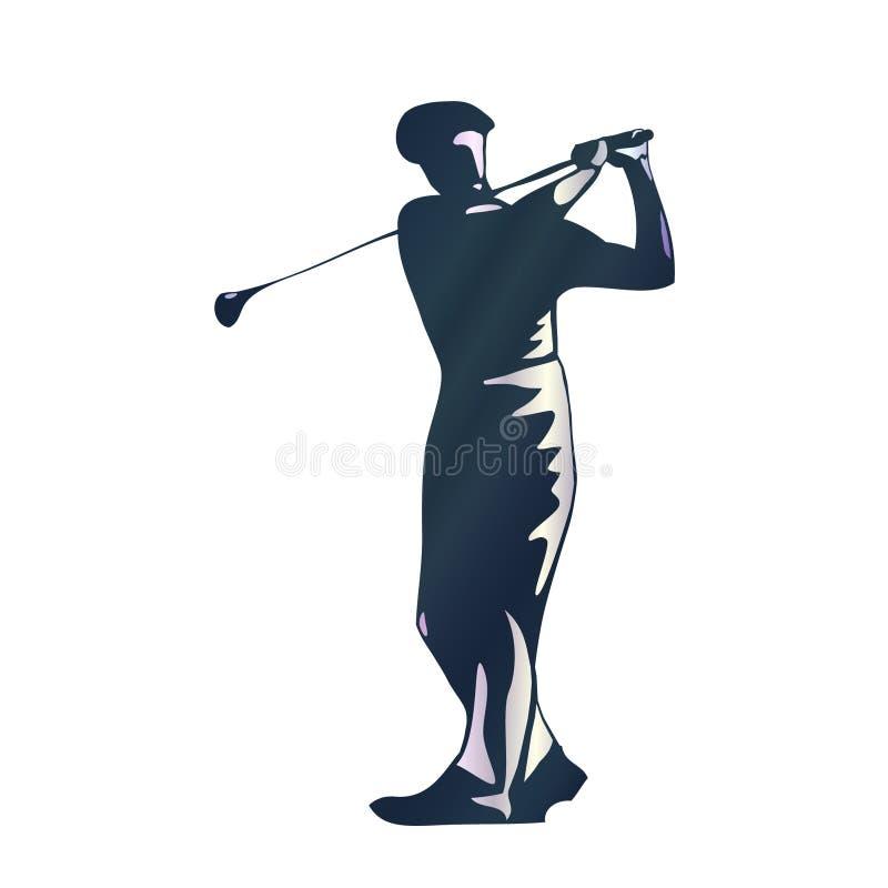 高尔夫球运动员摇摆剪影  免版税图库摄影