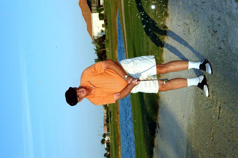 高尔夫球运动员沙子高级陷井 免版税库存照片