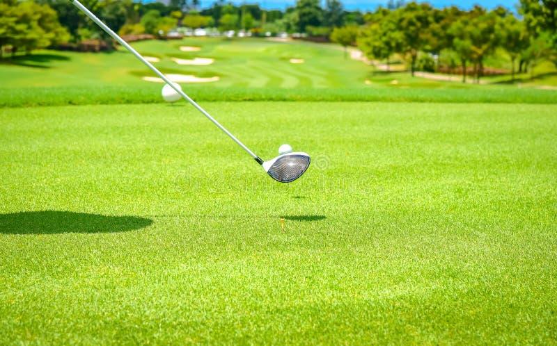 高尔夫球运动员由从发球区域箱子的高尔夫俱乐部推挤高尔夫球在竞争比赛的高尔夫球场 库存图片