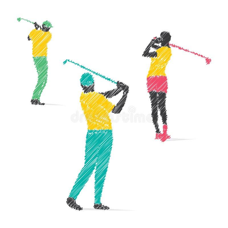 高尔夫球运动员设计 皇族释放例证