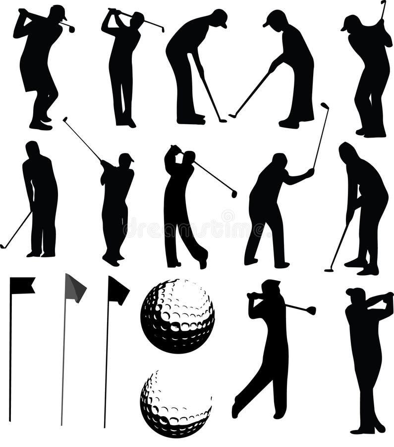高尔夫球运动员集合向量 皇族释放例证