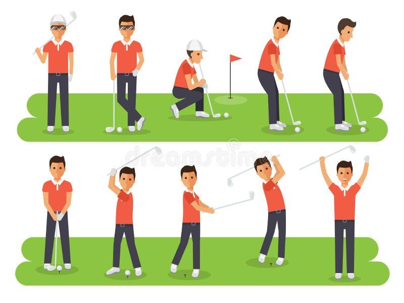 高尔夫球运动员,高尔夫球行动的体育运动员 向量例证