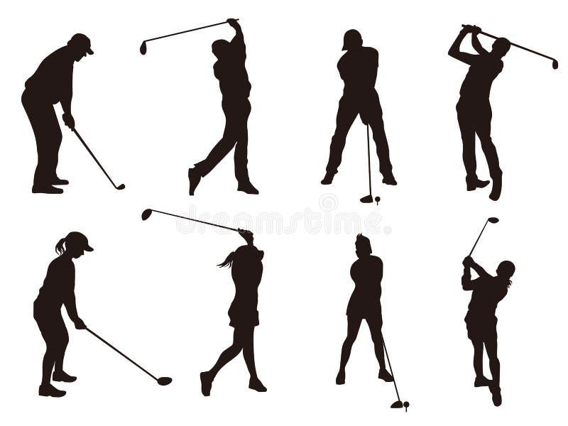 高尔夫球运动员silhouette1 向量例证