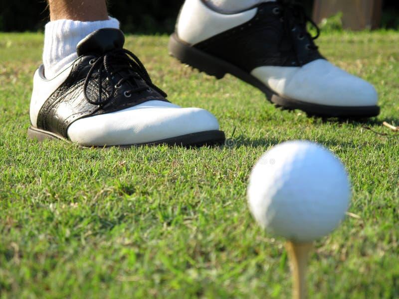 高尔夫球鞋子 库存图片