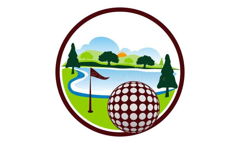 高尔夫球风景商标设计模板 皇族释放例证