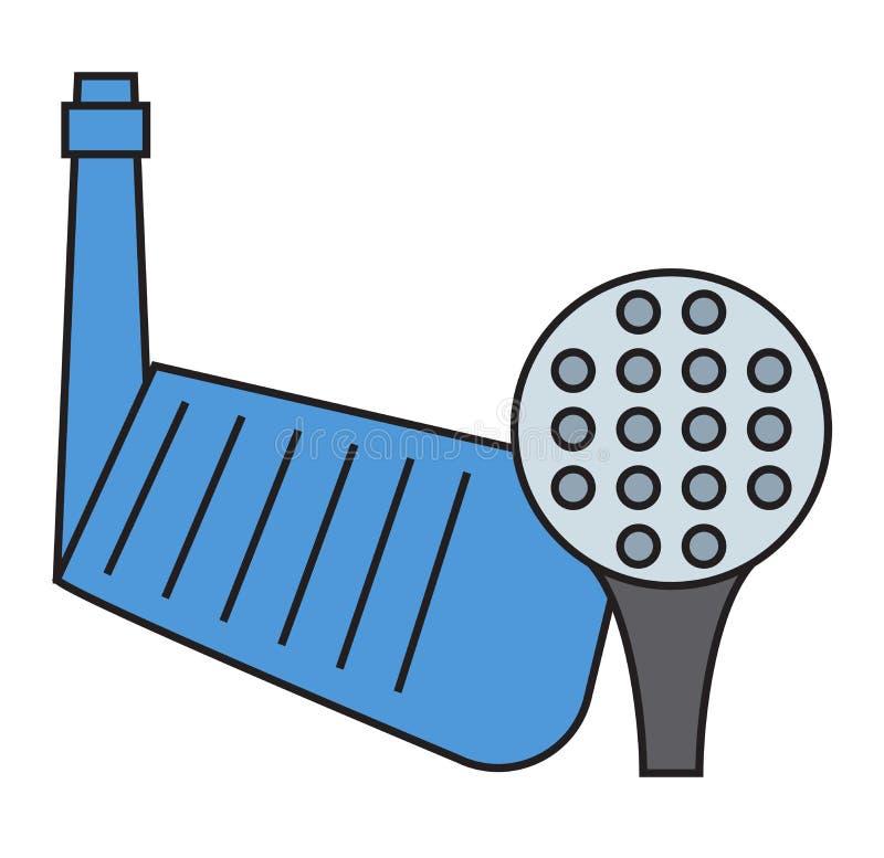 高尔夫球轻击棒和球在白色背景 向量例证