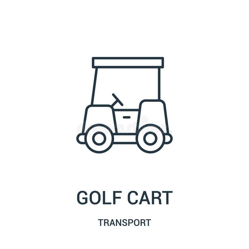 高尔夫车从运输汇集的象传染媒介 稀薄的线高尔夫车概述象传染媒介例证 向量例证