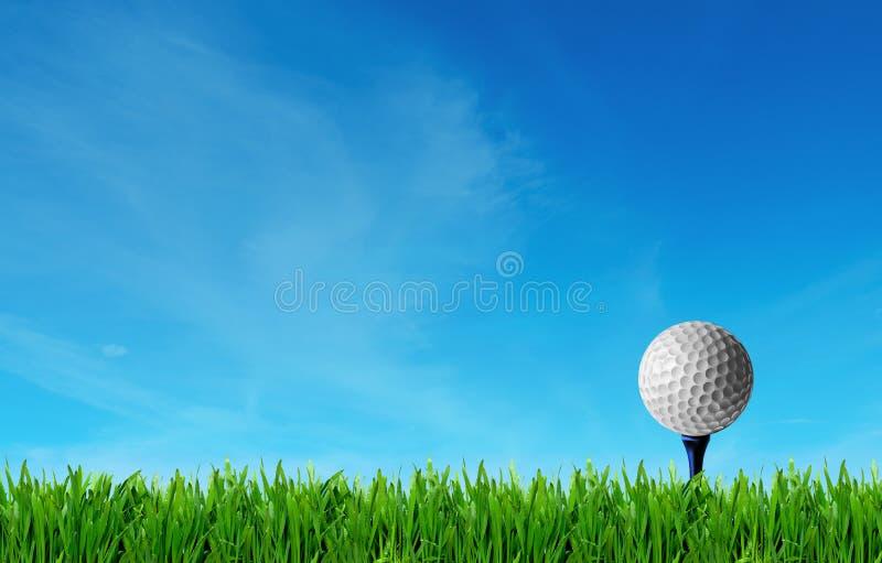 高尔夫邀请设计海报框,草坪上的高尔夫球 库存照片