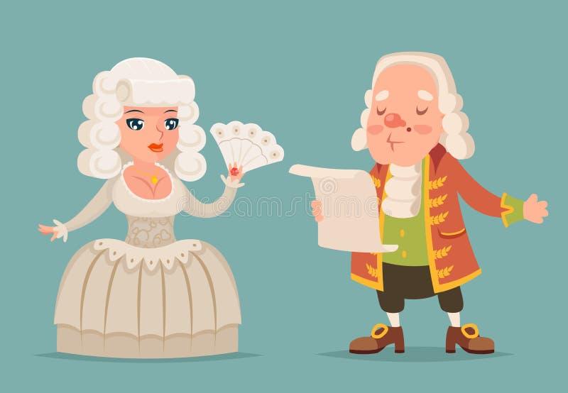 高尚的中世纪夫人阁下贵族伯爵夫人公主女王/王后国王吉祥人动画片设计传染媒介例证 向量例证