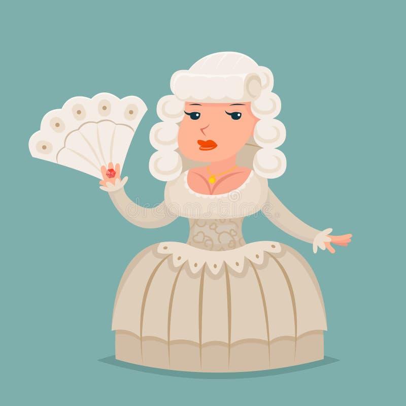 高尚的中世纪夫人贵族伯爵夫人公主女王/王后吉祥人动画片设计传染媒介例证 向量例证