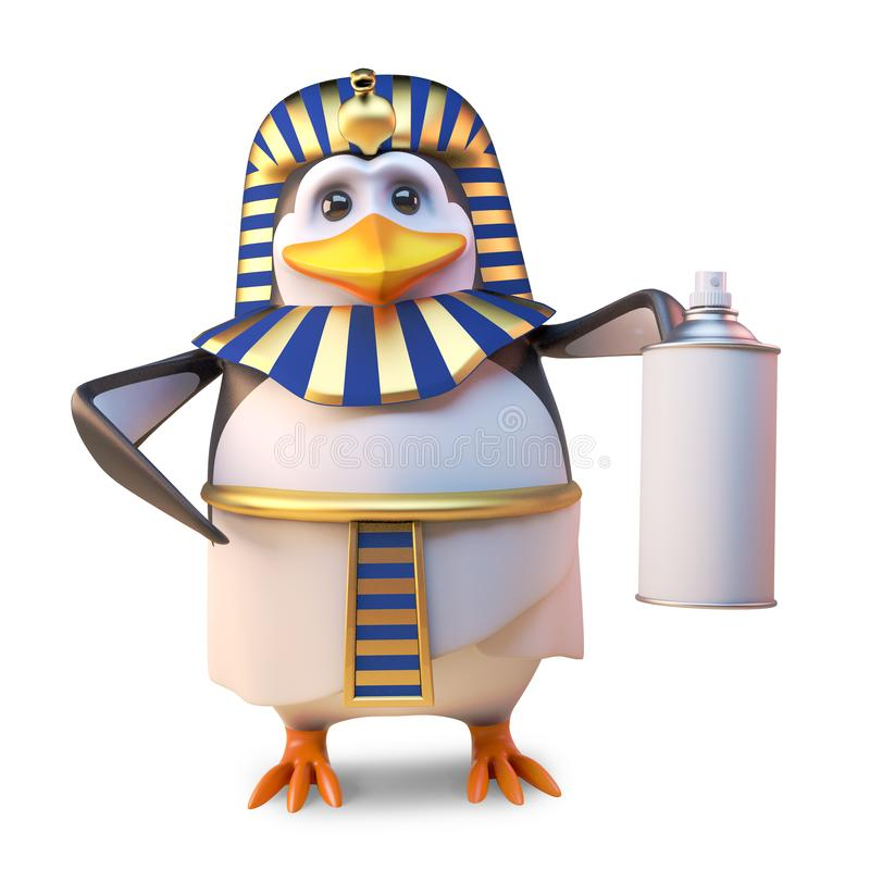 高尚的企鹅法老王使用湿剂spraypaint罐头,3d的Tutankhamun例证 向量例证