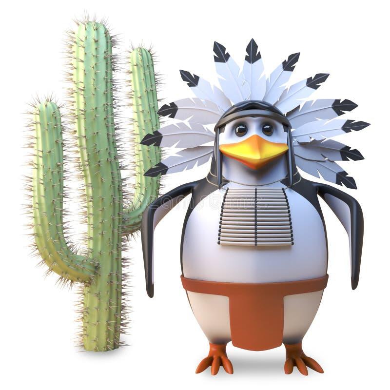 高尚的当地美洲印第安人首要企鹅平安地站立在仙人掌,3d旁边例证 库存例证