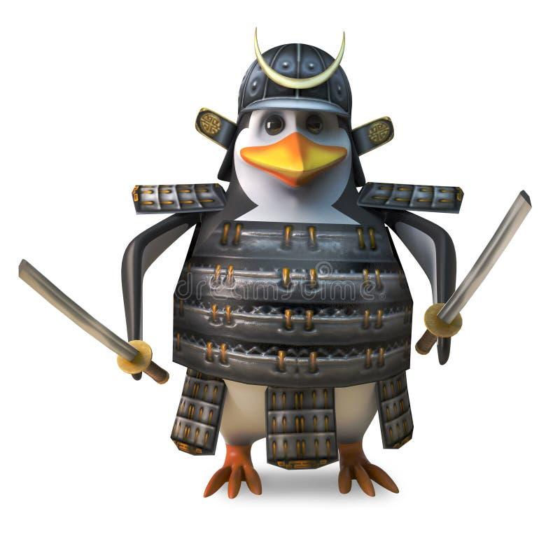 高尚的日本企鹅武士warror挥动两把强大katana剑,3d例证 库存例证
