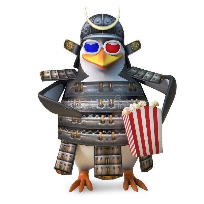 高尚的日本武士企鹅战士watchs 3d电影,当吃玉米花,3d例证时 库存例证