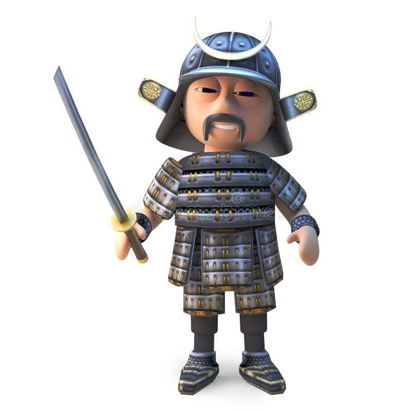高尚的日本武士战士准备好与katana剑,3d例证 库存例证