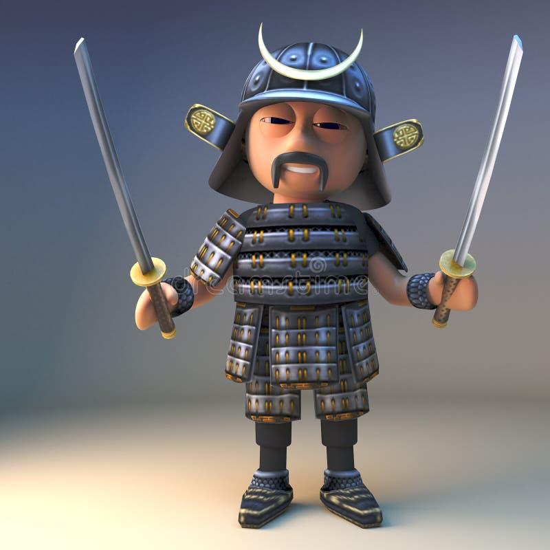 高尚的日本武士战士挥动两把强大katana刀片,3d例证 皇族释放例证