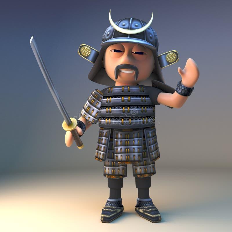 高尚的日本武士战士挥动katana并且挥动你好,3d例证 皇族释放例证