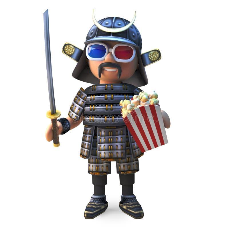 高尚的日本武士战士观看3d电影用玉米花,3d例证 皇族释放例证