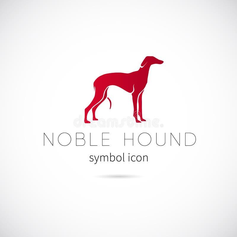 高尚的猎犬剪影传染媒介标志象或标签 向量例证
