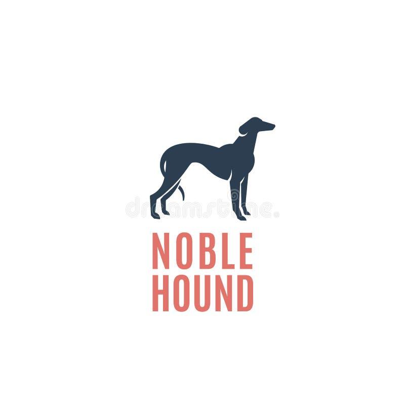 高尚的猎犬摘要传染媒介标志、象征或者商标模板 灵狮狗剪影 皇族释放例证